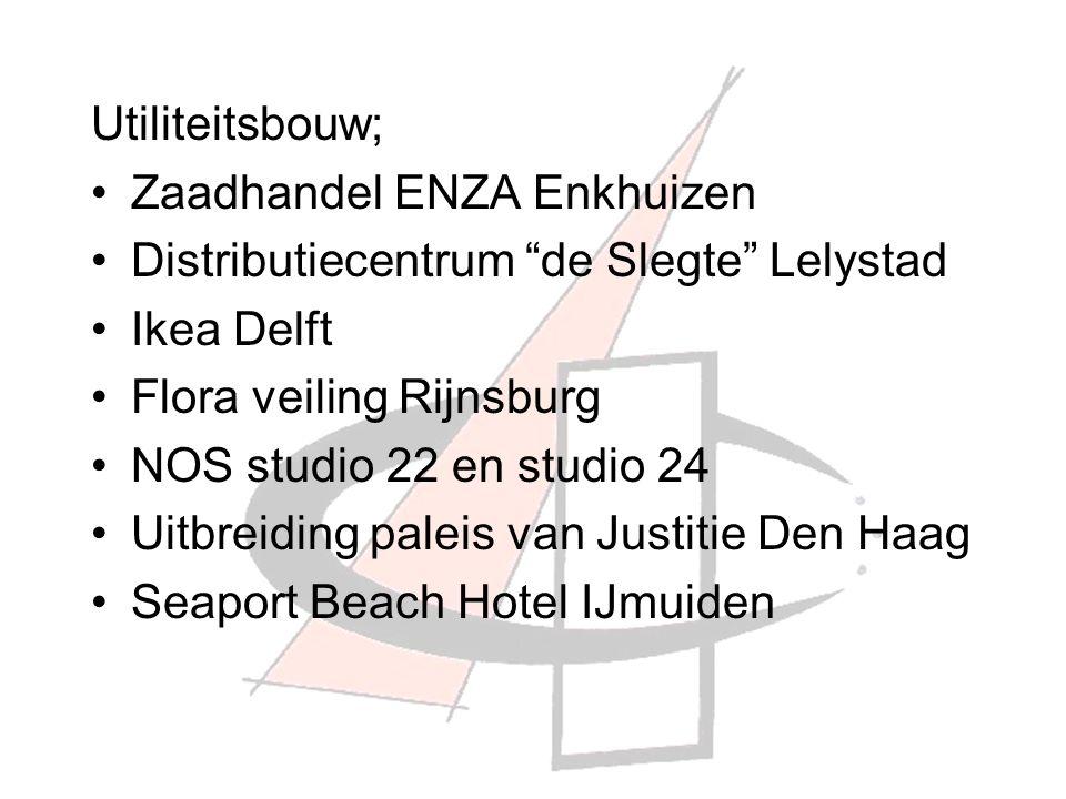 Utiliteitsbouw; Zaadhandel ENZA Enkhuizen Distributiecentrum de Slegte Lelystad Ikea Delft Flora veiling Rijnsburg NOS studio 22 en studio 24 Uitbreiding paleis van Justitie Den Haag Seaport Beach Hotel IJmuiden
