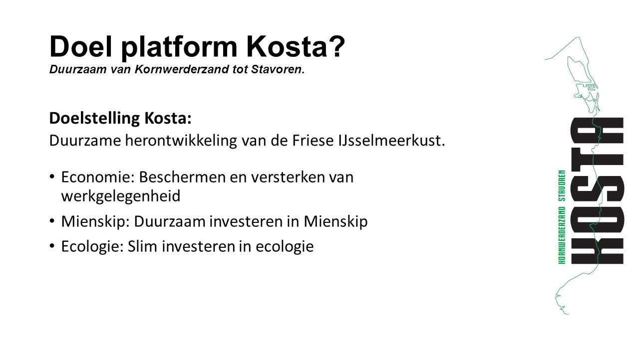 Doel platform Kosta. Duurzaam van Kornwerderzand tot Stavoren.