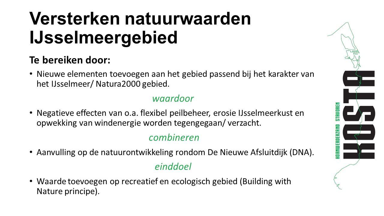 Versterken natuurwaarden IJsselmeergebied Nieuwe elementen toevoegen aan het gebied passend bij het karakter van het IJsselmeer/ Natura2000 gebied.