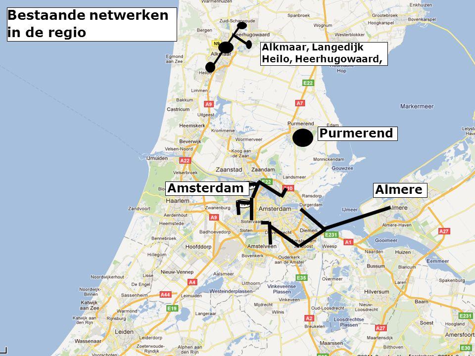 Almere Amsterdam Alkmaar, Langedijk Heilo, Heerhugowaard, Purmerend Bestaande netwerken in de regio