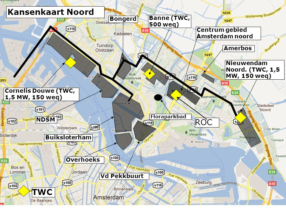 Bongerd NDSM Buiksloterham Cornelis Douwe (TWC, 1,5 MW, 150 weq) Centrum gebied Amsterdam noord Nieuwendam Noord.