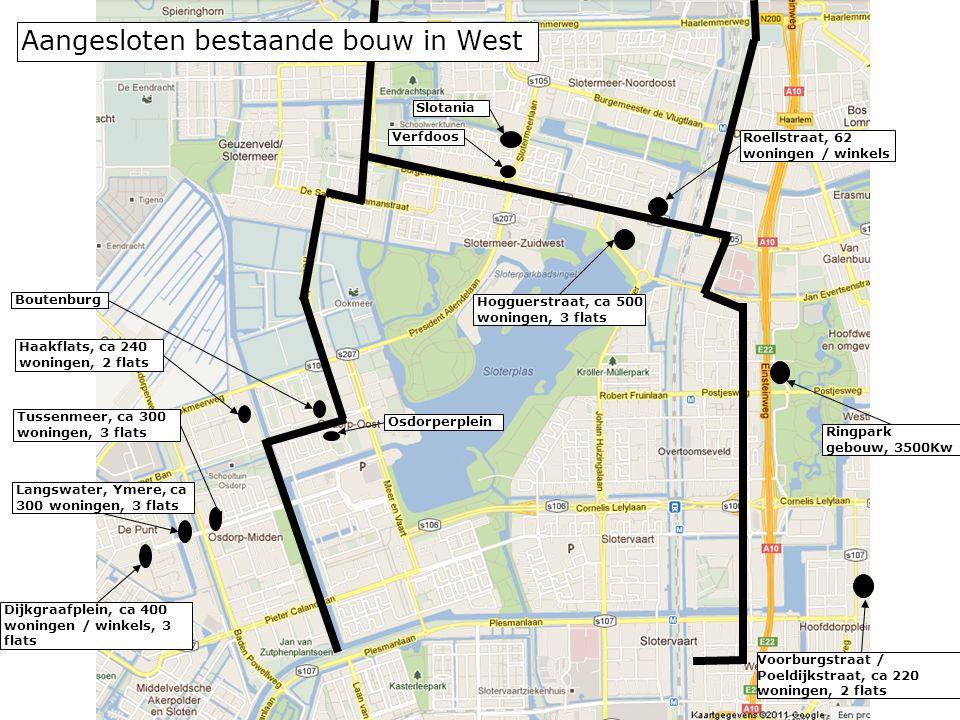 Voorburgstraat / Poeldijkstraat, ca 220 woningen, 2 flats Roellstraat, 62 woningen / winkels Hogguerstraat, ca 500 woningen, 3 flats Langswater, Ymere, ca 300 woningen, 3 flats Aangesloten bestaande bouw in West Ringpark gebouw, 3500Kw Haakflats, ca 240 woningen, 2 flats Dijkgraafplein, ca 400 woningen / winkels, 3 flats Tussenmeer, ca 300 woningen, 3 flats Verfdoos Slotania Boutenburg Osdorperplein