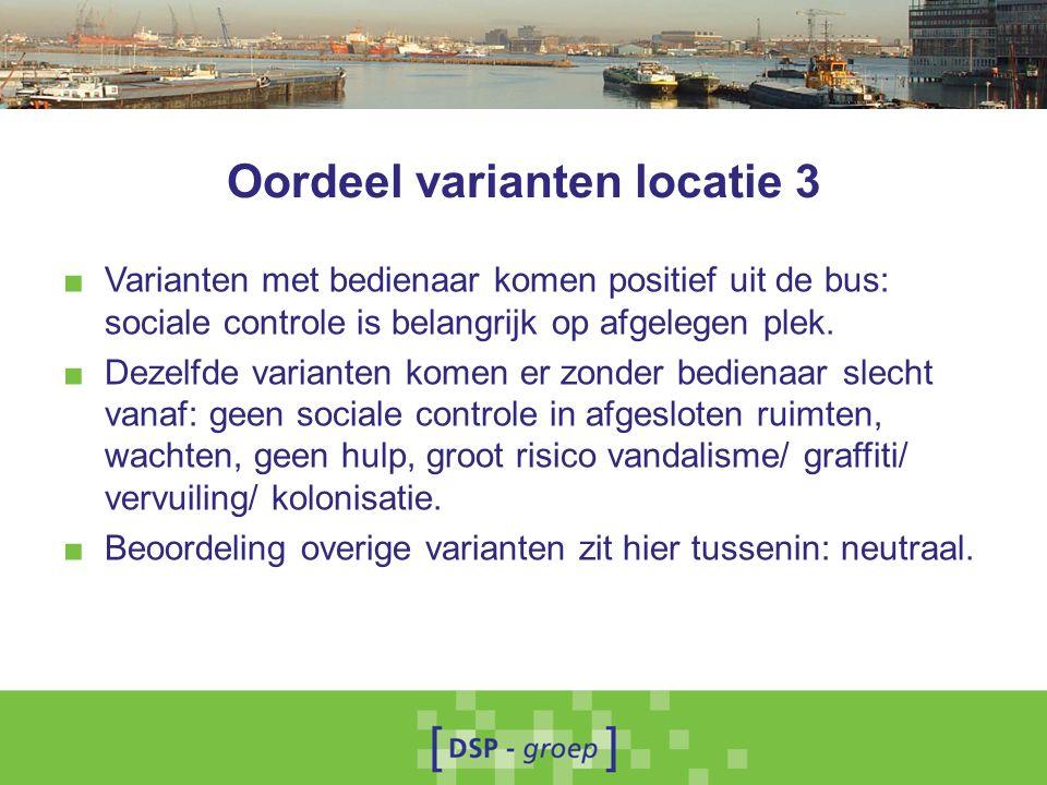 Oordeel varianten locatie 3 ■ Varianten met bedienaar komen positief uit de bus: sociale controle is belangrijk op afgelegen plek.