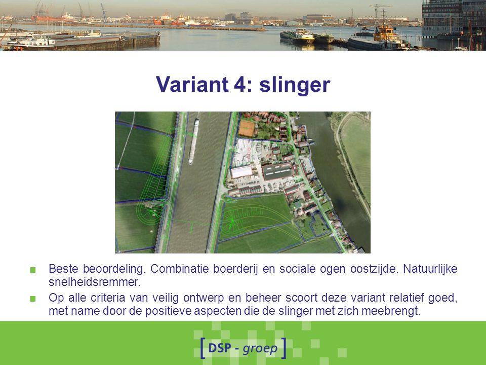 Variant 4: slinger ■ Beste beoordeling. Combinatie boerderij en sociale ogen oostzijde.