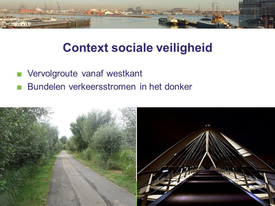 Context sociale veiligheid ■ Vervolgroute vanaf westkant ■ Bundelen verkeersstromen in het donker