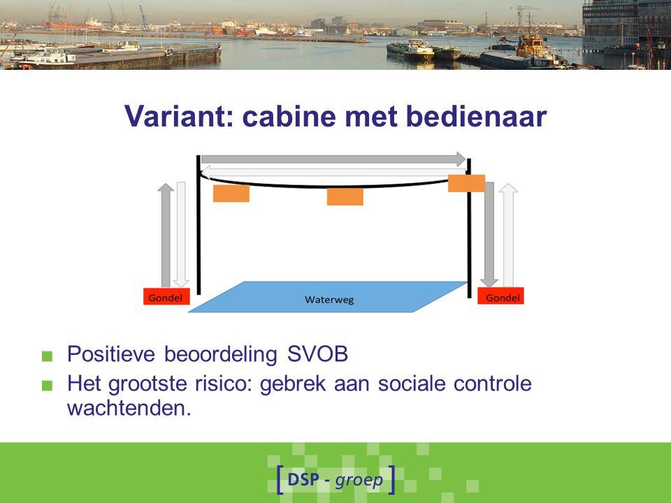 Variant: cabine met bedienaar ■ Positieve beoordeling SVOB ■ Het grootste risico: gebrek aan sociale controle wachtenden.