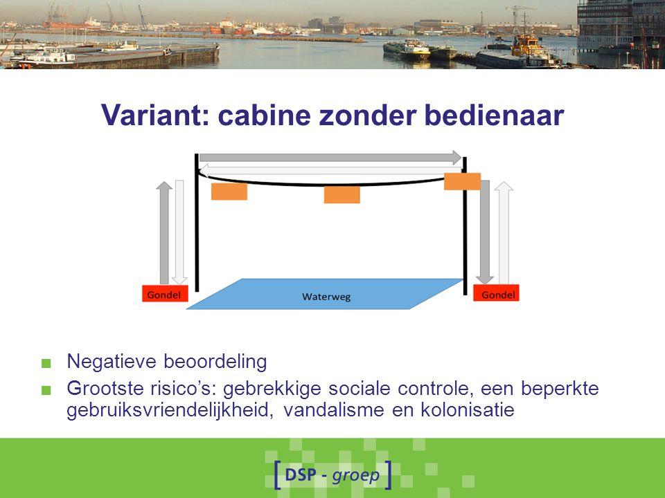 Variant: cabine zonder bedienaar ■ Negatieve beoordeling ■ Grootste risico's: gebrekkige sociale controle, een beperkte gebruiksvriendelijkheid, vandalisme en kolonisatie