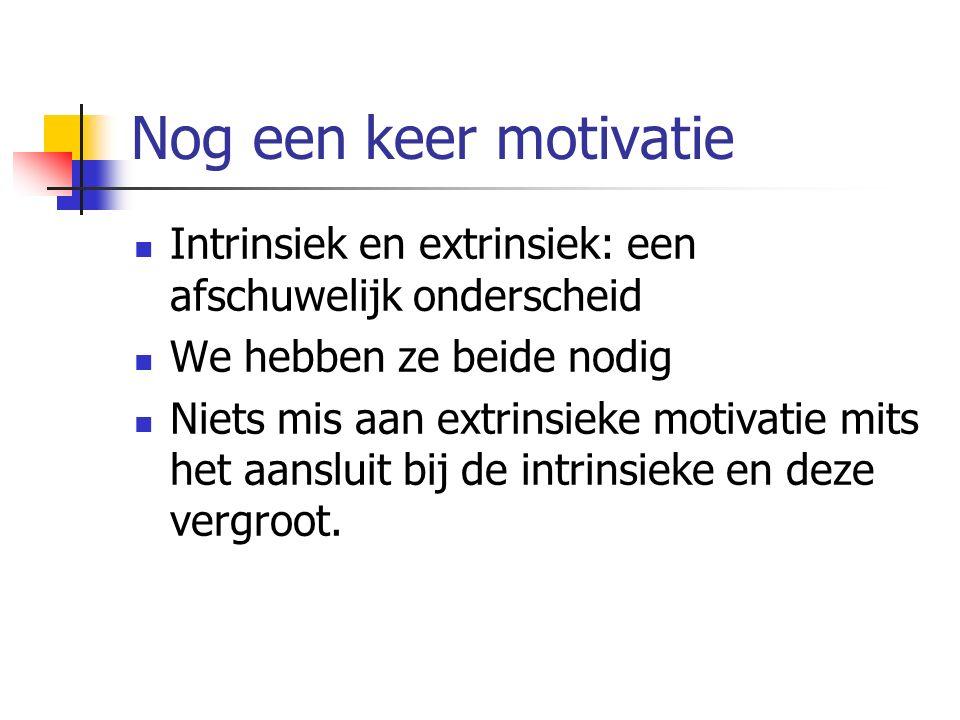 Nog een keer motivatie Intrinsiek en extrinsiek: een afschuwelijk onderscheid We hebben ze beide nodig Niets mis aan extrinsieke motivatie mits het aansluit bij de intrinsieke en deze vergroot.