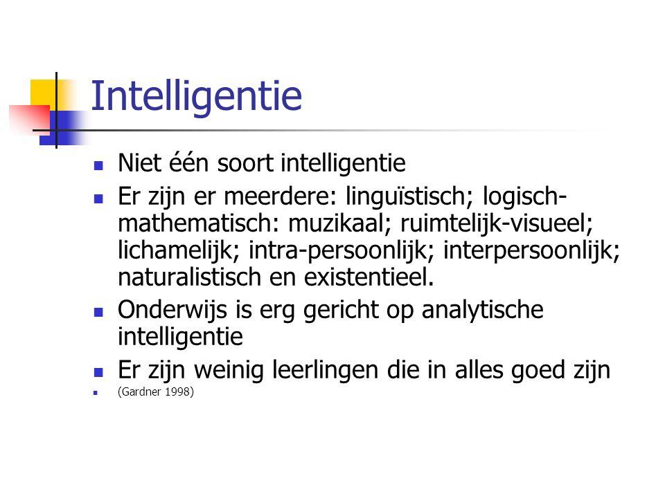 Intelligentie Niet één soort intelligentie Er zijn er meerdere: linguïstisch; logisch- mathematisch: muzikaal; ruimtelijk-visueel; lichamelijk; intra-persoonlijk; interpersoonlijk; naturalistisch en existentieel.