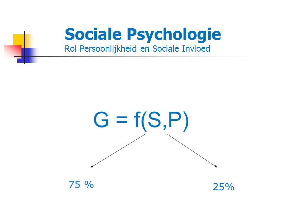 Sociale Psychologie Rol Persoonlijkheid en Sociale Invloed G = f(S,P) 75 % 25%