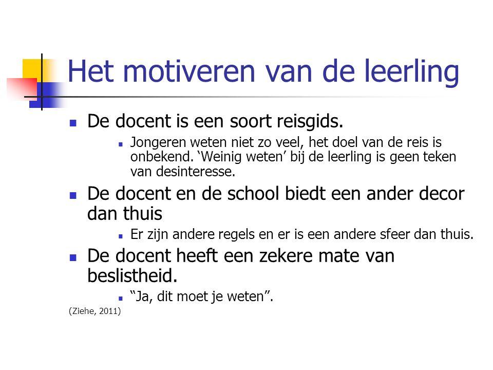 Het motiveren van de leerling De docent is een soort reisgids.
