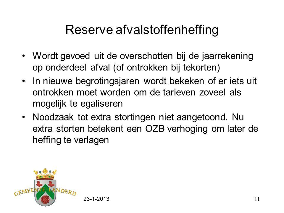 23-1-201311 Reserve afvalstoffenheffing Wordt gevoed uit de overschotten bij de jaarrekening op onderdeel afval (of ontrokken bij tekorten) In nieuwe
