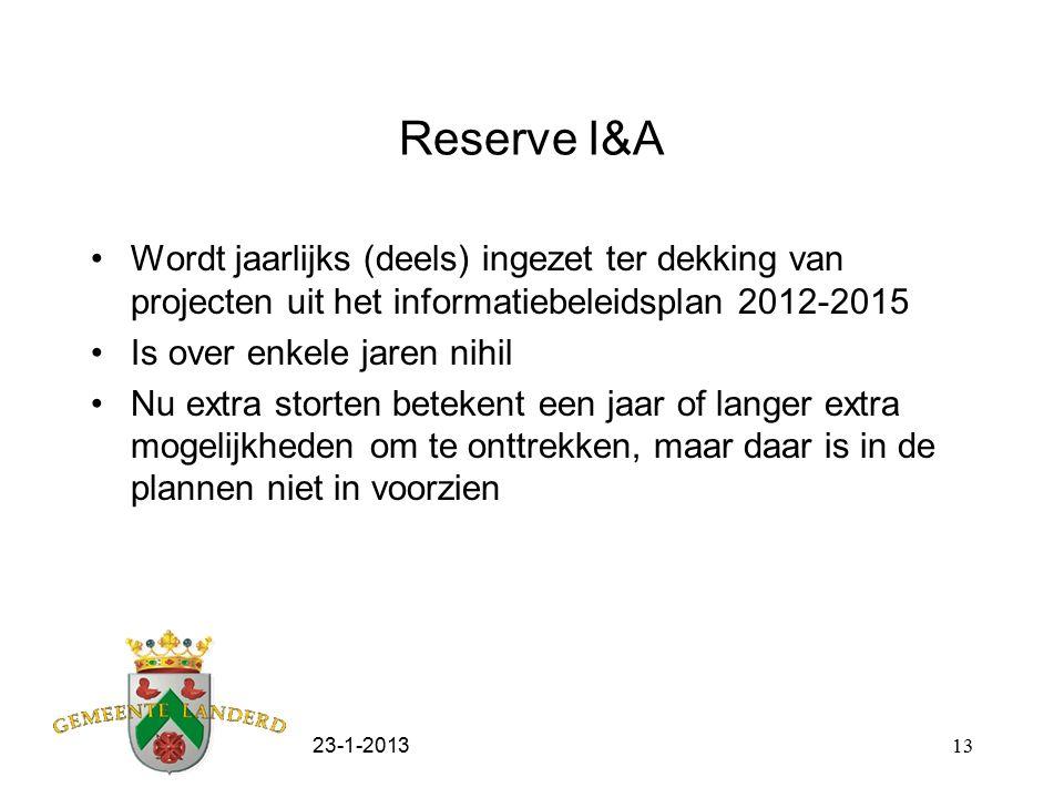 23-1-201313 Reserve I&A Wordt jaarlijks (deels) ingezet ter dekking van projecten uit het informatiebeleidsplan 2012-2015 Is over enkele jaren nihil Nu extra storten betekent een jaar of langer extra mogelijkheden om te onttrekken, maar daar is in de plannen niet in voorzien