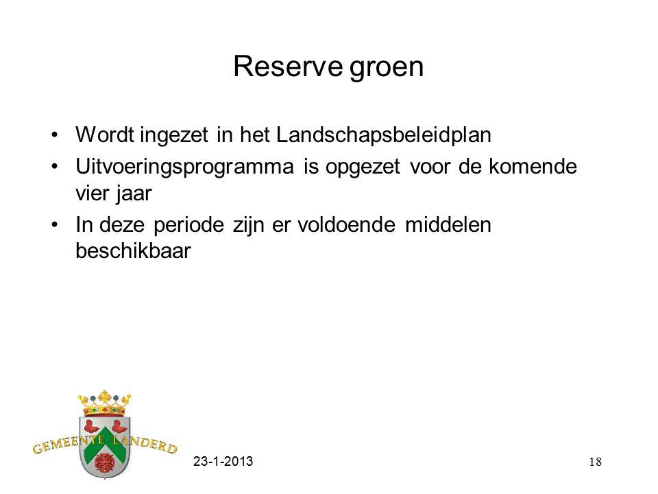 23-1-201318 Reserve groen Wordt ingezet in het Landschapsbeleidplan Uitvoeringsprogramma is opgezet voor de komende vier jaar In deze periode zijn er voldoende middelen beschikbaar