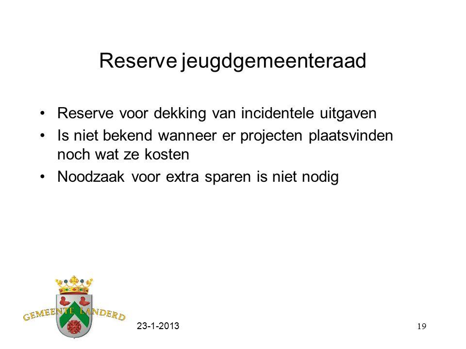 23-1-201319 Reserve jeugdgemeenteraad Reserve voor dekking van incidentele uitgaven Is niet bekend wanneer er projecten plaatsvinden noch wat ze kosten Noodzaak voor extra sparen is niet nodig