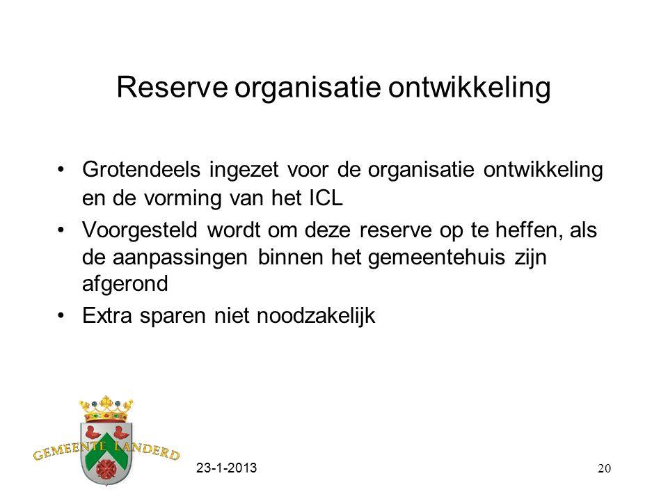 23-1-201320 Reserve organisatie ontwikkeling Grotendeels ingezet voor de organisatie ontwikkeling en de vorming van het ICL Voorgesteld wordt om deze