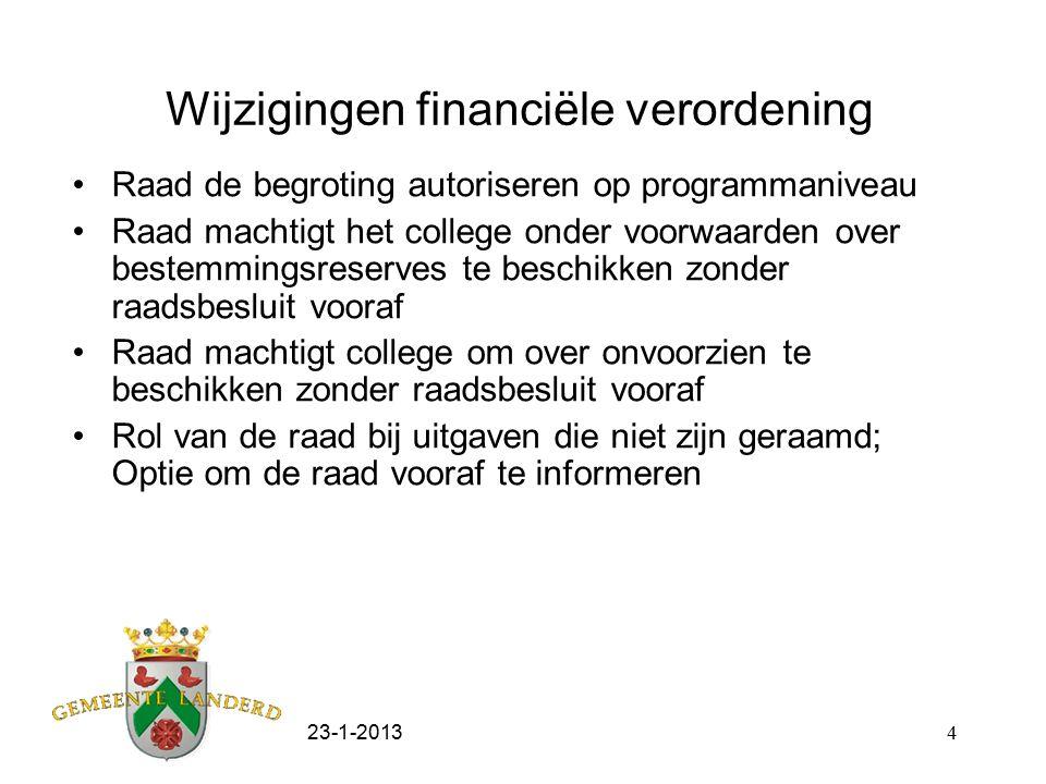 23-1-20134 Wijzigingen financiële verordening Raad de begroting autoriseren op programmaniveau Raad machtigt het college onder voorwaarden over bestem