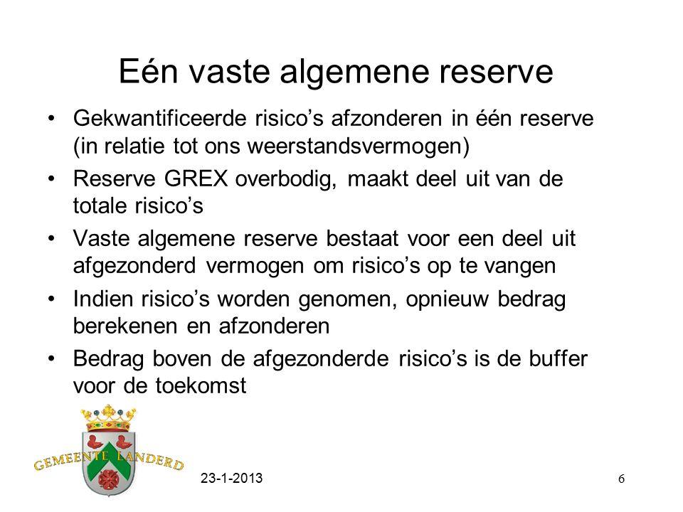 23-1-20137 Waarom opheffen reserve GREX Risico's zijn berekend en zijn vertaald in de vaste algemene reserve Buffer voor de GREX is wel gevormd Eén reserve voorkomt het jaarlijks overhevelen van het deel vaste algemene reserve naar reserve GREX als deze (deels) is gebruikt