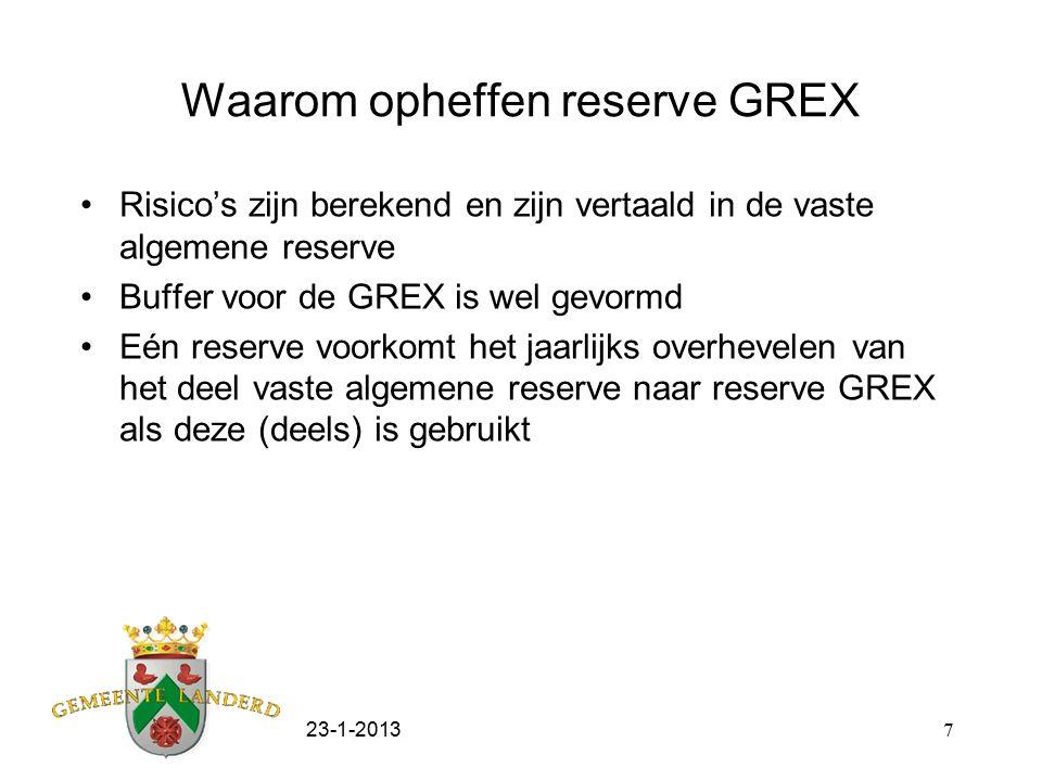 23-1-20137 Waarom opheffen reserve GREX Risico's zijn berekend en zijn vertaald in de vaste algemene reserve Buffer voor de GREX is wel gevormd Eén re