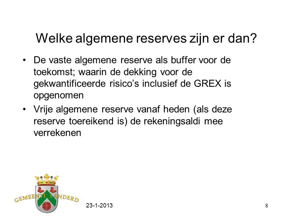 23-1-20138 Welke algemene reserves zijn er dan? De vaste algemene reserve als buffer voor de toekomst; waarin de dekking voor de gekwantificeerde risi