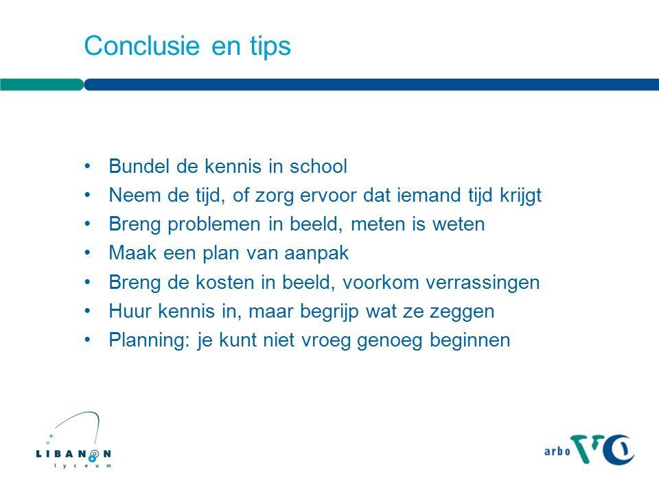 Conclusie en tips Bundel de kennis in school Neem de tijd, of zorg ervoor dat iemand tijd krijgt Breng problemen in beeld, meten is weten Maak een pla