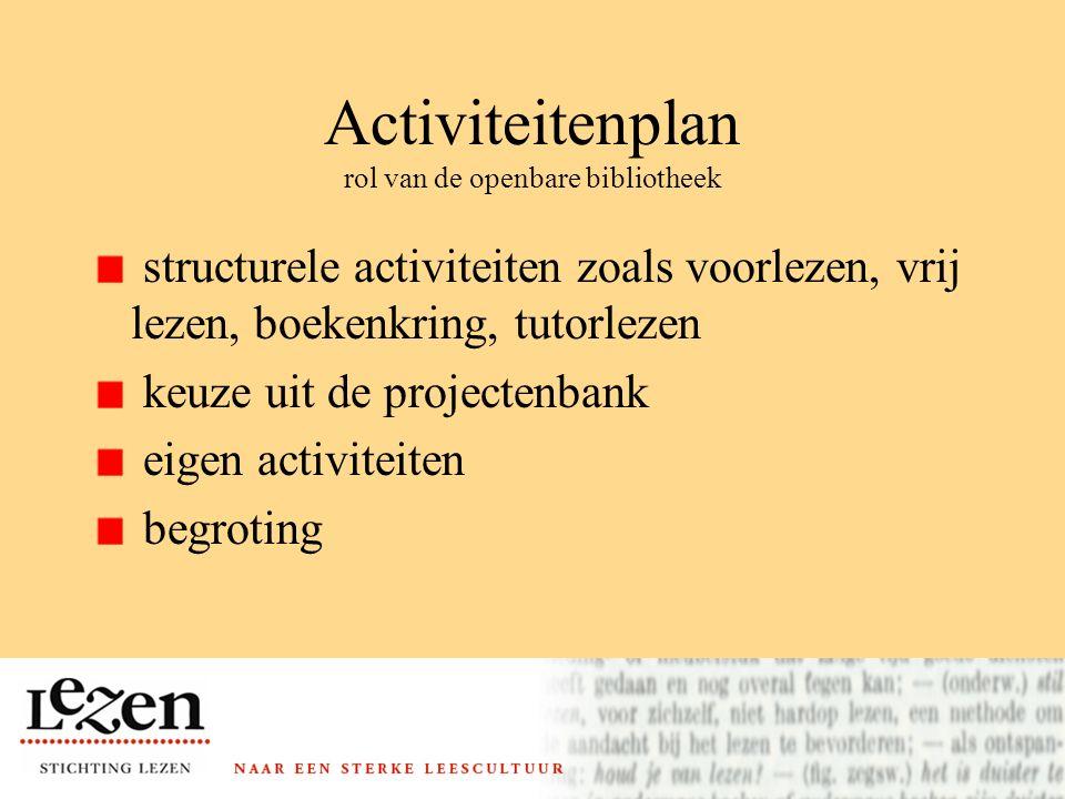 Activiteitenplan rol van de openbare bibliotheek structurele activiteiten zoals voorlezen, vrij lezen, boekenkring, tutorlezen keuze uit de projectenbank eigen activiteiten begroting