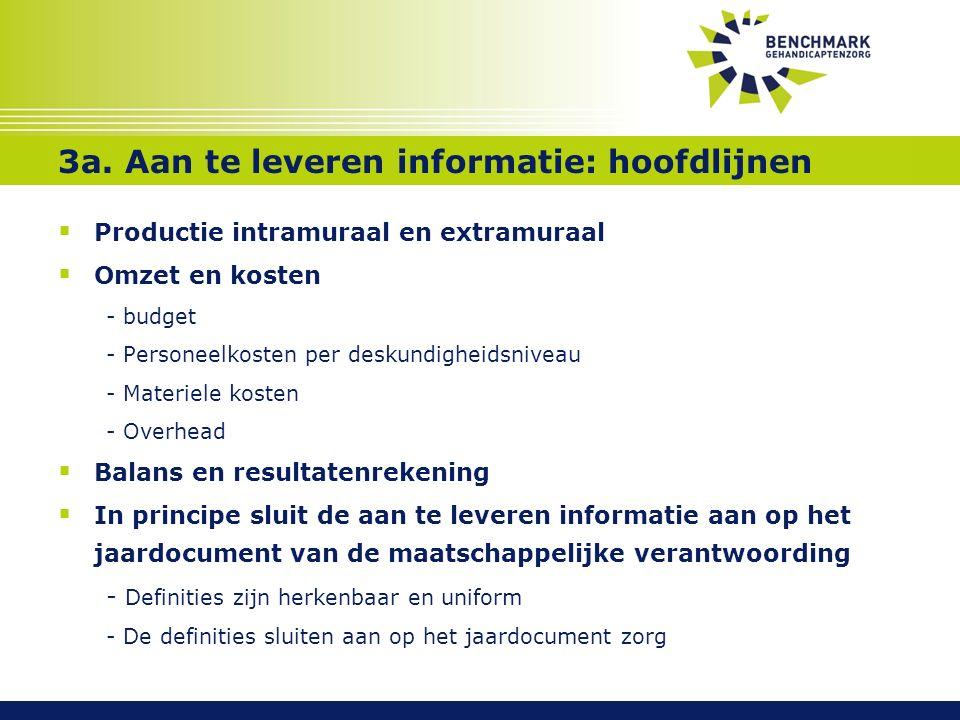 3a. Aan te leveren informatie: hoofdlijnen  Productie intramuraal en extramuraal  Omzet en kosten - budget - Personeelkosten per deskundigheidsnivea