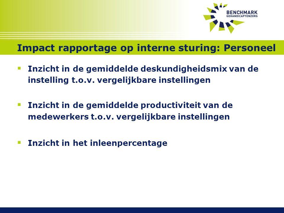 Impact rapportage op interne sturing: Personeel  Inzicht in de gemiddelde deskundigheidsmix van de instelling t.o.v.
