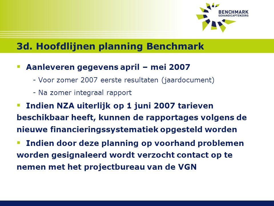 3d. Hoofdlijnen planning Benchmark  Aanleveren gegevens april – mei 2007 - Voor zomer 2007 eerste resultaten (jaardocument) - Na zomer integraal rapp