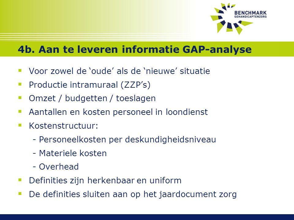 4b. Aan te leveren informatie GAP-analyse  Voor zowel de 'oude' als de 'nieuwe' situatie  Productie intramuraal (ZZP's)  Omzet / budgetten / toesla