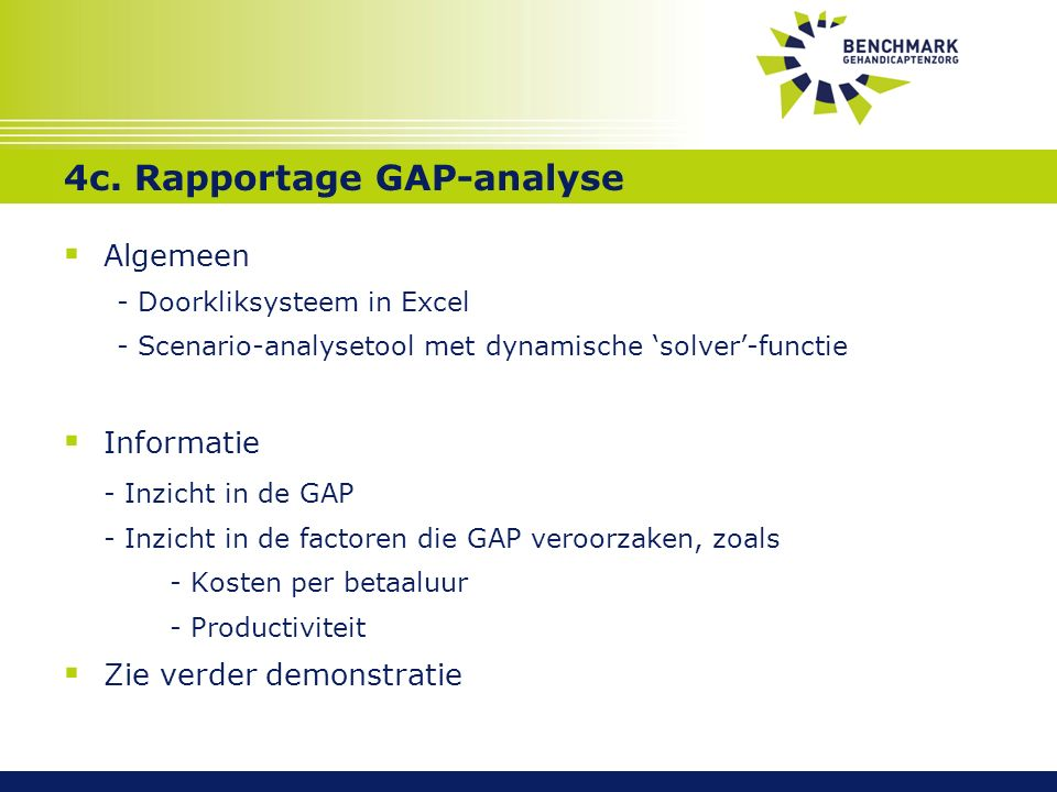 4c. Rapportage GAP-analyse  Algemeen - Doorkliksysteem in Excel - Scenario-analysetool met dynamische 'solver'-functie  Informatie - Inzicht in de G
