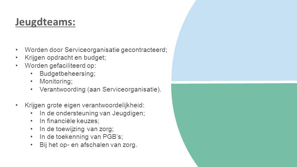 Jeugdteams: Worden door Serviceorganisatie gecontracteerd; Krijgen opdracht en budget; Worden gefaciliteerd op: Budgetbeheersing; Monitoring; Verantwoording (aan Serviceorganisatie).
