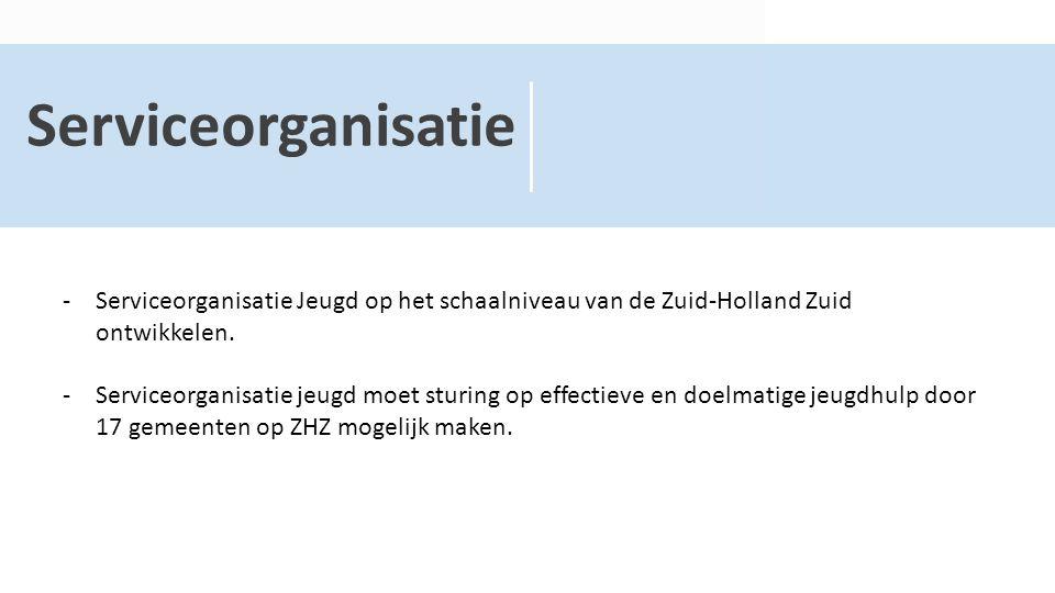 Serviceorganisatie -Serviceorganisatie Jeugd op het schaalniveau van de Zuid-Holland Zuid ontwikkelen. -Serviceorganisatie jeugd moet sturing op effec