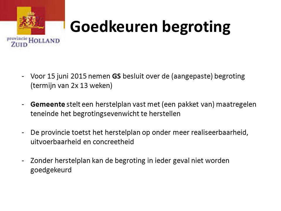 Goedkeuren begroting -Voor 15 juni 2015 nemen GS besluit over de (aangepaste) begroting (termijn van 2x 13 weken) -Gemeente stelt een herstelplan vast