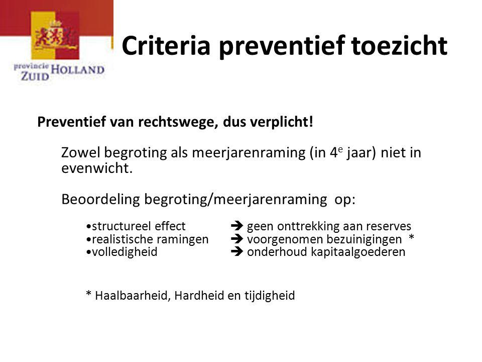 Criteria preventief toezicht Preventief van rechtswege, dus verplicht! Zowel begroting als meerjarenraming (in 4 e jaar) niet in evenwicht. Beoordelin