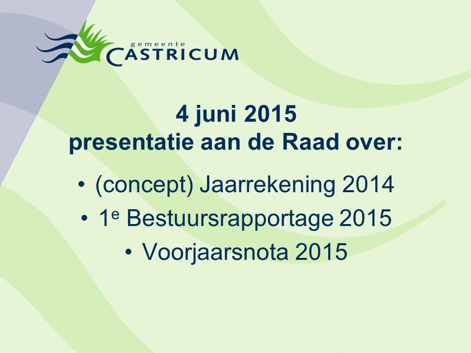 4 juni 2015 presentatie aan de Raad over: (concept) Jaarrekening 2014 1 e Bestuursrapportage 2015 Voorjaarsnota 2015