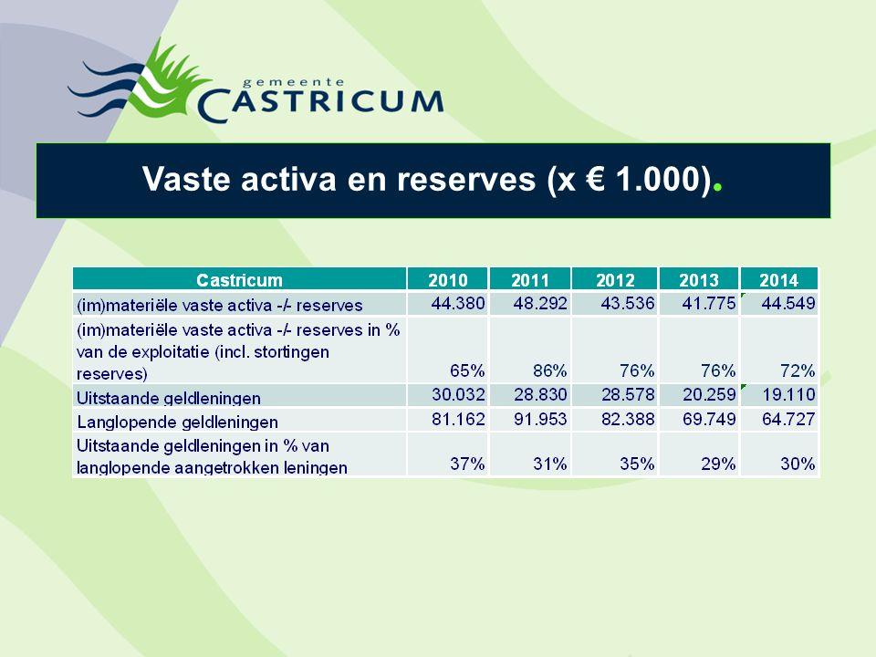 Vaste activa en reserves (x € 1.000).
