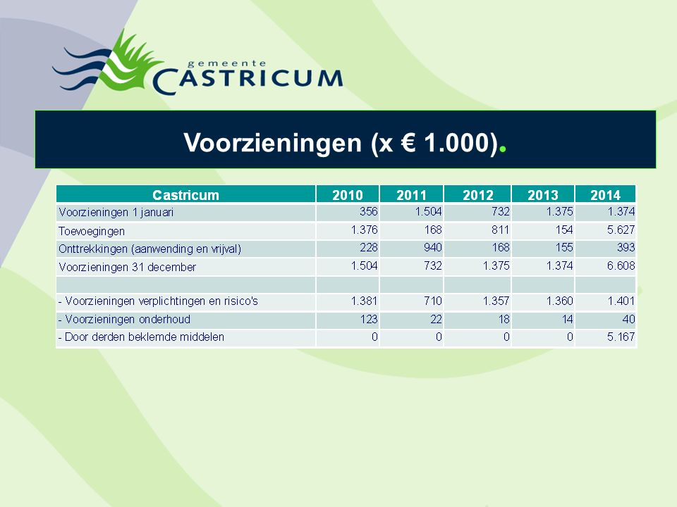 Voorzieningen (x € 1.000).