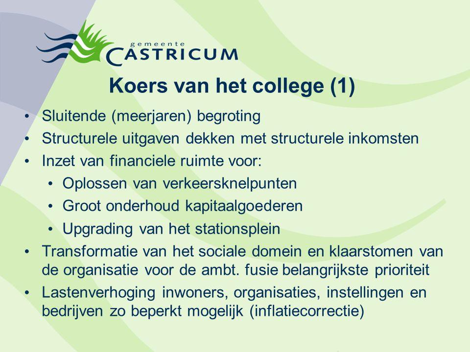 Koers van het college (1) Sluitende (meerjaren) begroting Structurele uitgaven dekken met structurele inkomsten Inzet van financiele ruimte voor: Oplo