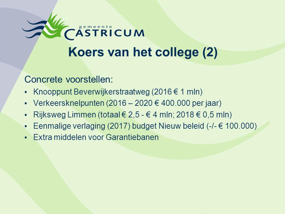 Koers van het college (2) Concrete voorstellen: Knooppunt Beverwijkerstraatweg (2016 € 1 mln) Verkeersknelpunten (2016 – 2020 € 400.000 per jaar) Rijk