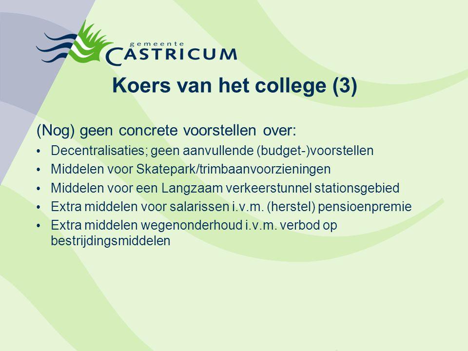 Koers van het college (3) (Nog) geen concrete voorstellen over: Decentralisaties; geen aanvullende (budget-)voorstellen Middelen voor Skatepark/trimba