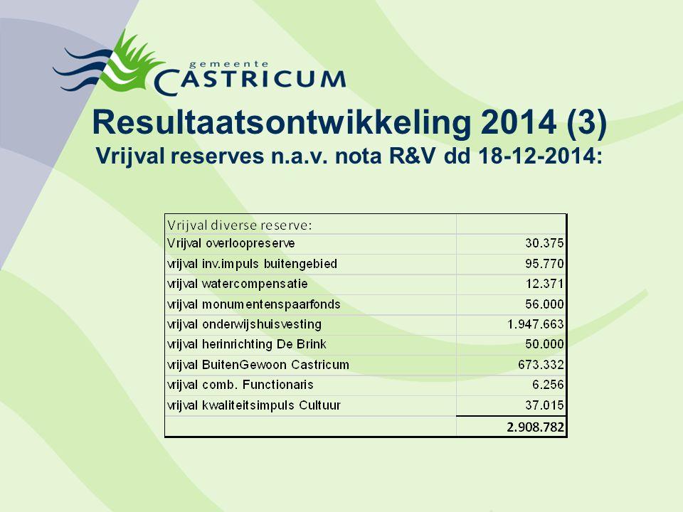 Resultaatsontwikkeling 2014 (3) Vrijval reserves n.a.v. nota R&V dd 18-12-2014: