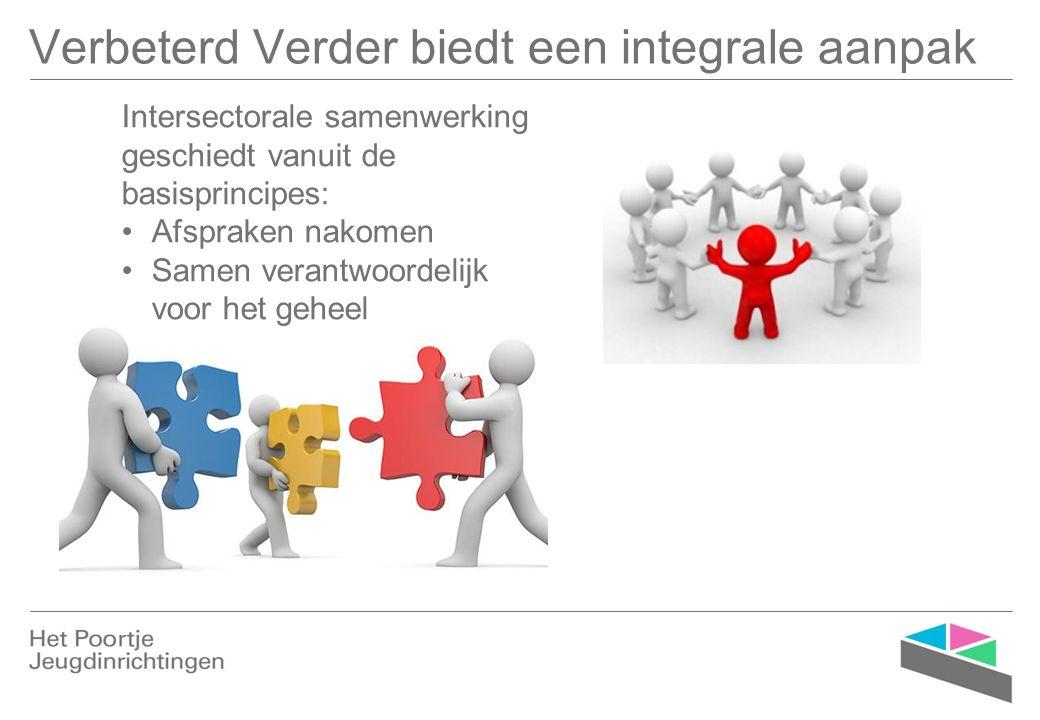 Verbeterd Verder biedt een integrale aanpak Intersectorale samenwerking geschiedt vanuit de basisprincipes: Afspraken nakomen Samen verantwoordelijk v