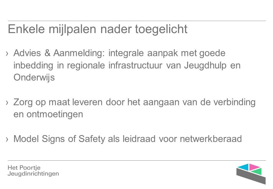 Enkele mijlpalen nader toegelicht ›Advies & Aanmelding: integrale aanpak met goede inbedding in regionale infrastructuur van Jeugdhulp en Onderwijs ›Zorg op maat leveren door het aangaan van de verbinding en ontmoetingen ›Model Signs of Safety als leidraad voor netwerkberaad