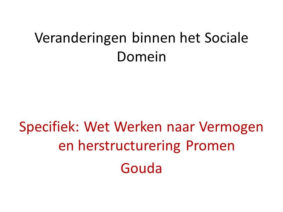 Veranderingen binnen het Sociale Domein Specifiek: Wet Werken naar Vermogen en herstructurering Promen Gouda