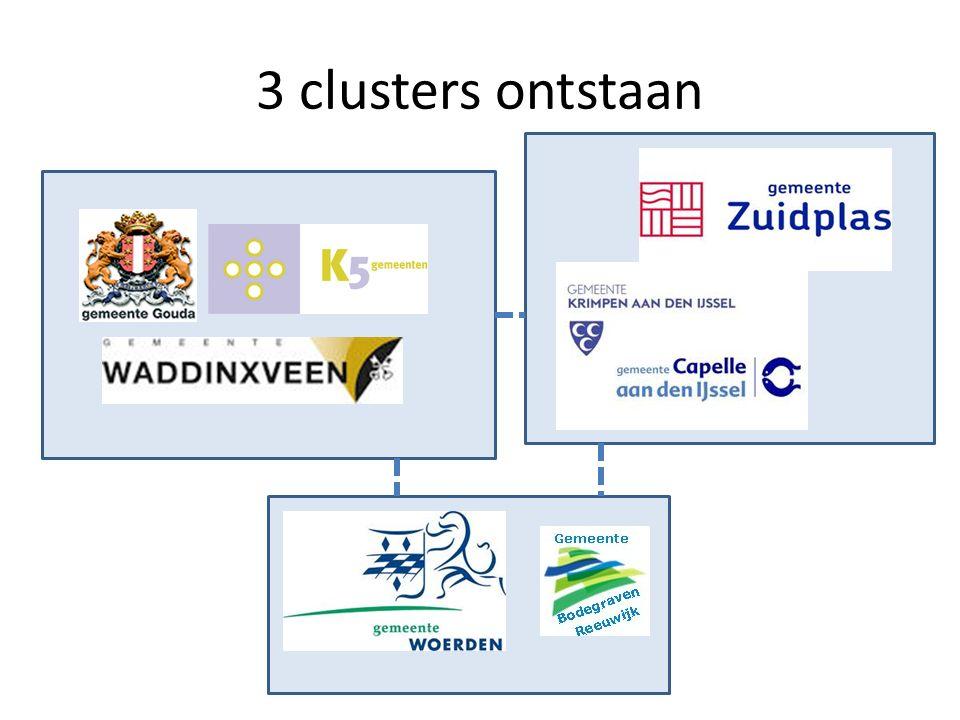 3 clusters ontstaan