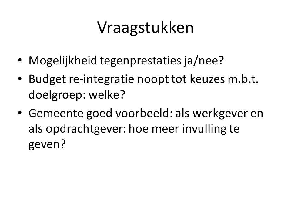Vraagstukken Mogelijkheid tegenprestaties ja/nee. Budget re-integratie noopt tot keuzes m.b.t.