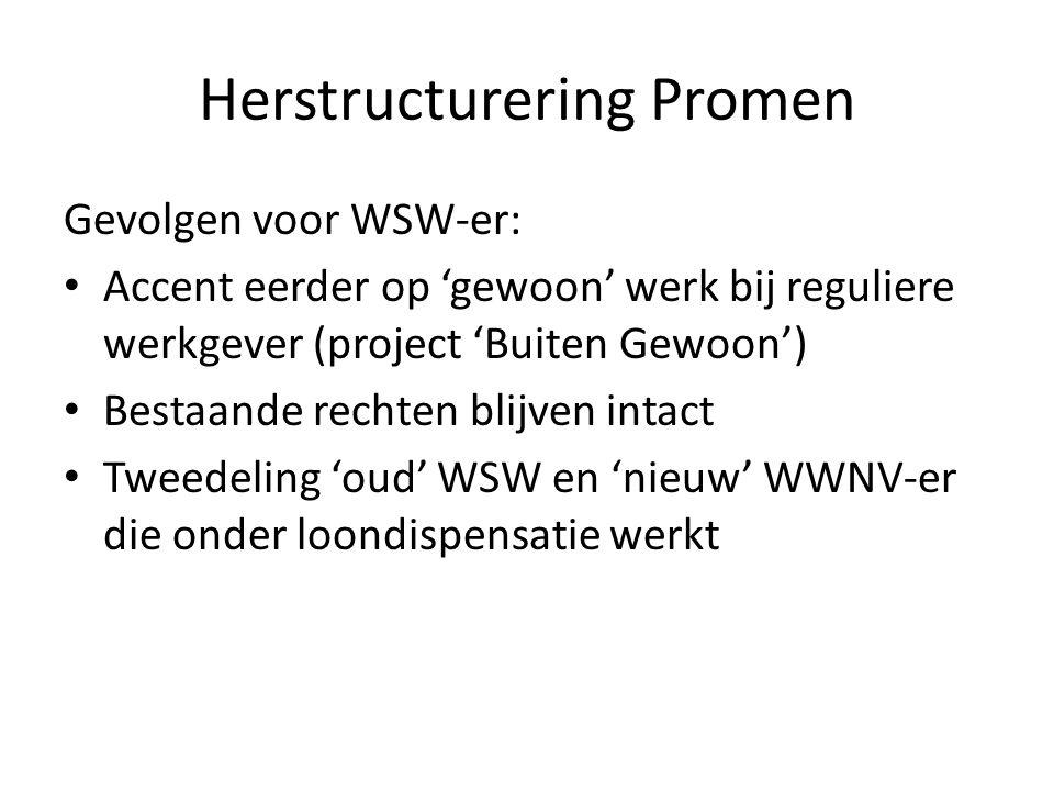 Herstructurering Promen Gevolgen voor WSW-er: Accent eerder op 'gewoon' werk bij reguliere werkgever (project 'Buiten Gewoon') Bestaande rechten blijven intact Tweedeling 'oud' WSW en 'nieuw' WWNV-er die onder loondispensatie werkt