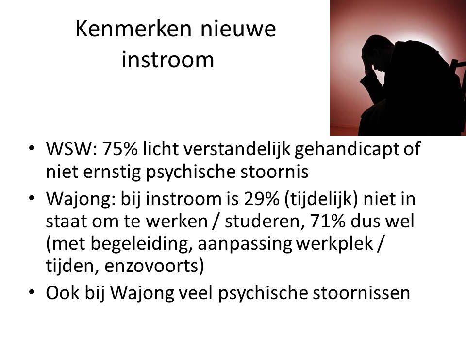 Kenmerken nieuwe instroom WSW: 75% licht verstandelijk gehandicapt of niet ernstig psychische stoornis Wajong: bij instroom is 29% (tijdelijk) niet in staat om te werken / studeren, 71% dus wel (met begeleiding, aanpassing werkplek / tijden, enzovoorts) Ook bij Wajong veel psychische stoornissen