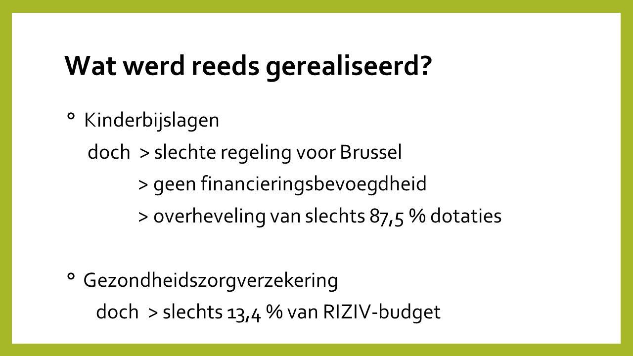 Wat werd reeds gerealiseerd? ° Kinderbijslagen doch > slechte regeling voor Brussel > geen financieringsbevoegdheid > overheveling van slechts 87,5 %